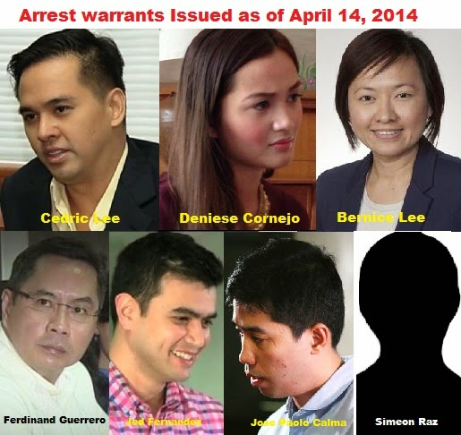 Arrest warrants issued to Cedric Lee, Deniese Cornejo, Bernice Lee, Ferdinand Guerrero, Simeon Raz, Jose Paolo Calma, and Jed Fernandez for the crimes of serious illegal detention and grave coercion
