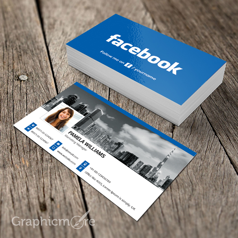 Facebook blue business card template mockup design free download psd file vectorkh for Business cards psd templates