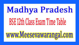 Madhya Pradesh BSE 12th Class Exam Time Table March 2017