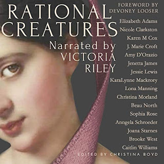 Rational Creatures audiobook cover, an anthology by various authors. A pretty woman in a pink bonnet looks out from a painting.