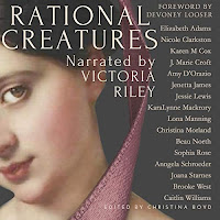 Rational Creatures audiobook cover. A Regency lady in a pink-ribboned bonnet gazes out from a painting.