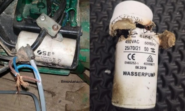 Ciri Kapasitor Pompa Air Rusak