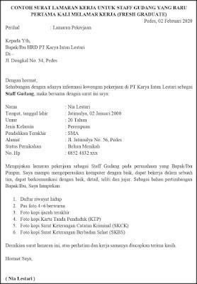 Contoh Surat Lamaran Pekerjaan Untuk Transportasi Dan Logistik Tanpakoma