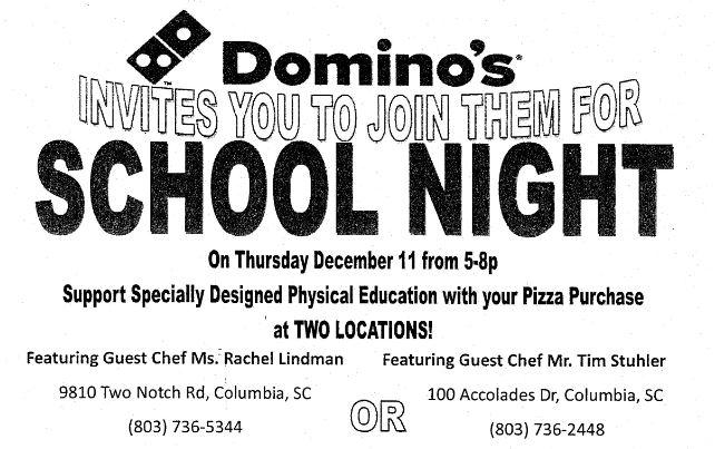 Lake Carolina Elementary Communigator: Domino's School Night
