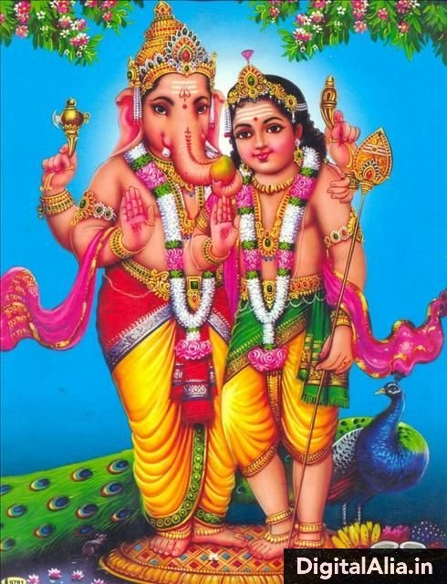 lord ganesha with brother kartik