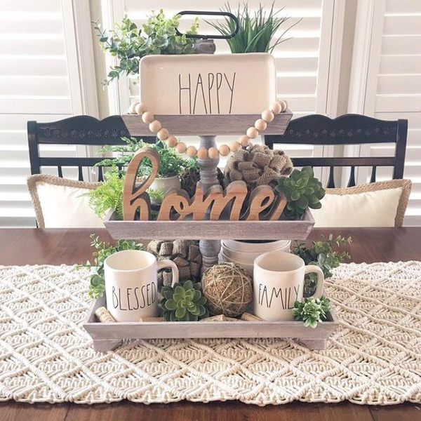 decor ideas for 2 tiered wooden tray