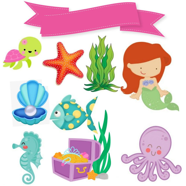 Sirenita Bebé: Toppers para Tartas, Bizcochos o Pasteles para Imprimir Gratis.