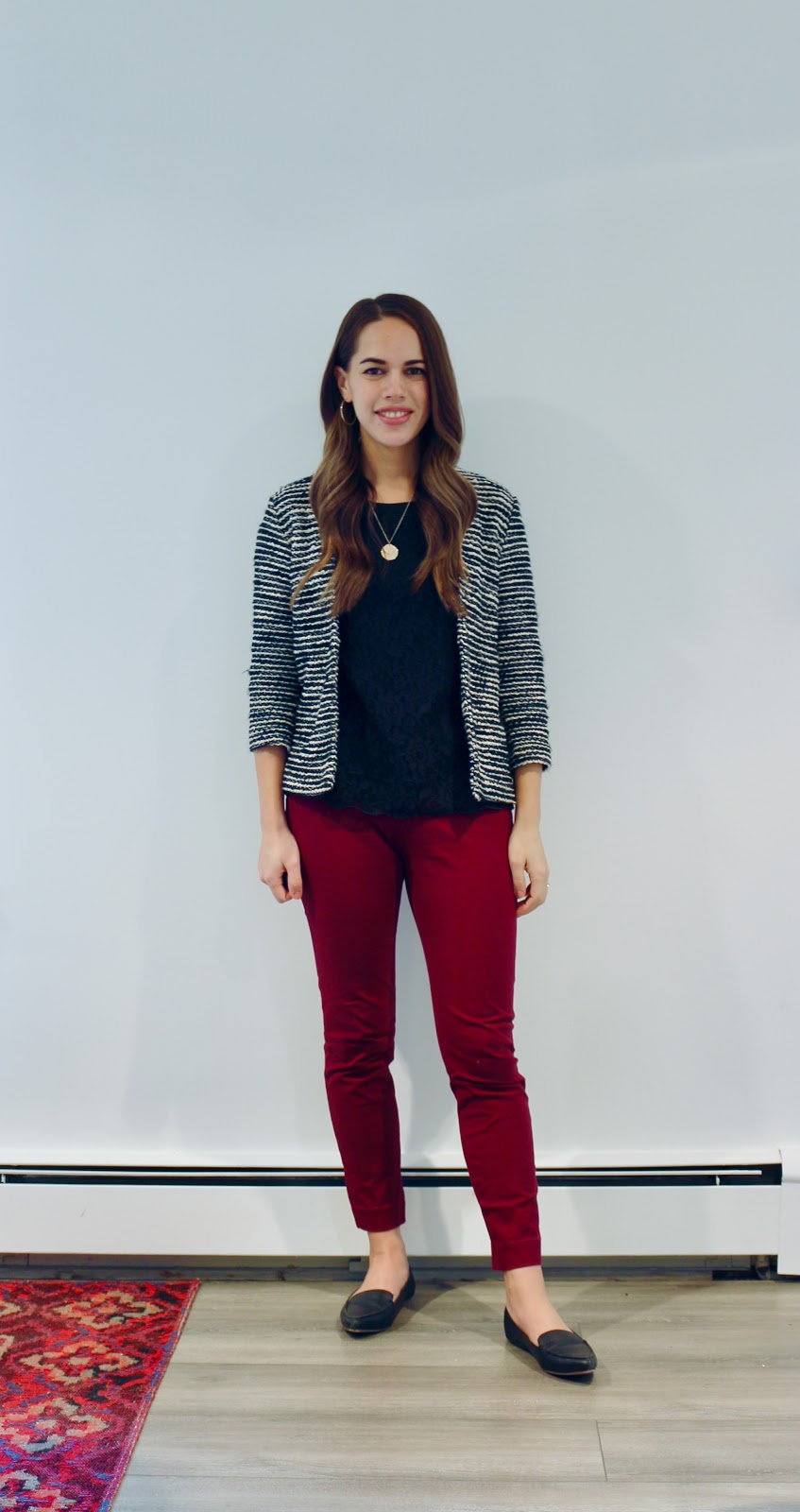 Jules in Flats - Striped Jacket & Burgundy Ankle Pants (Business Casual Fall Workwear on a Budget)