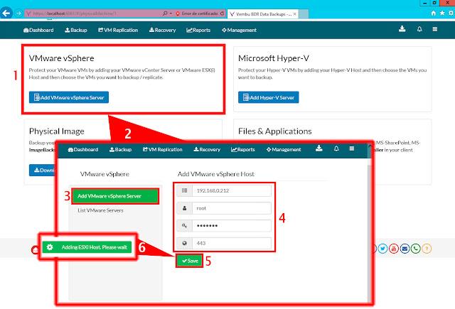 Formulario Add VMware vSphere Server.