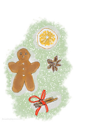 Illustration of a gingerbread man, cinnamon, star snise and an orange slice.
