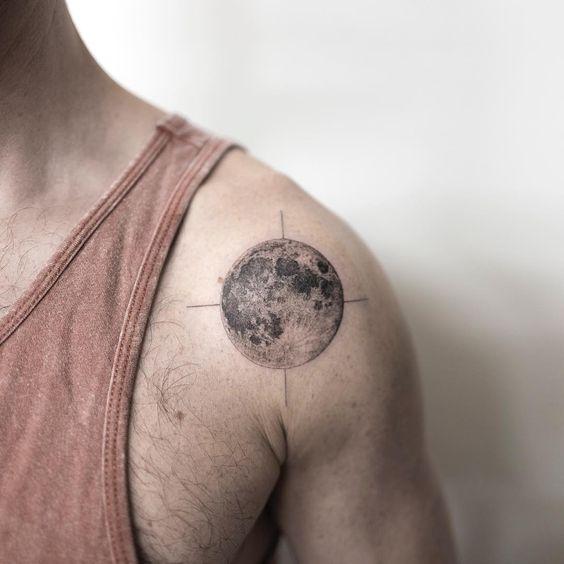 Moon Tattoos For Men on shoulder