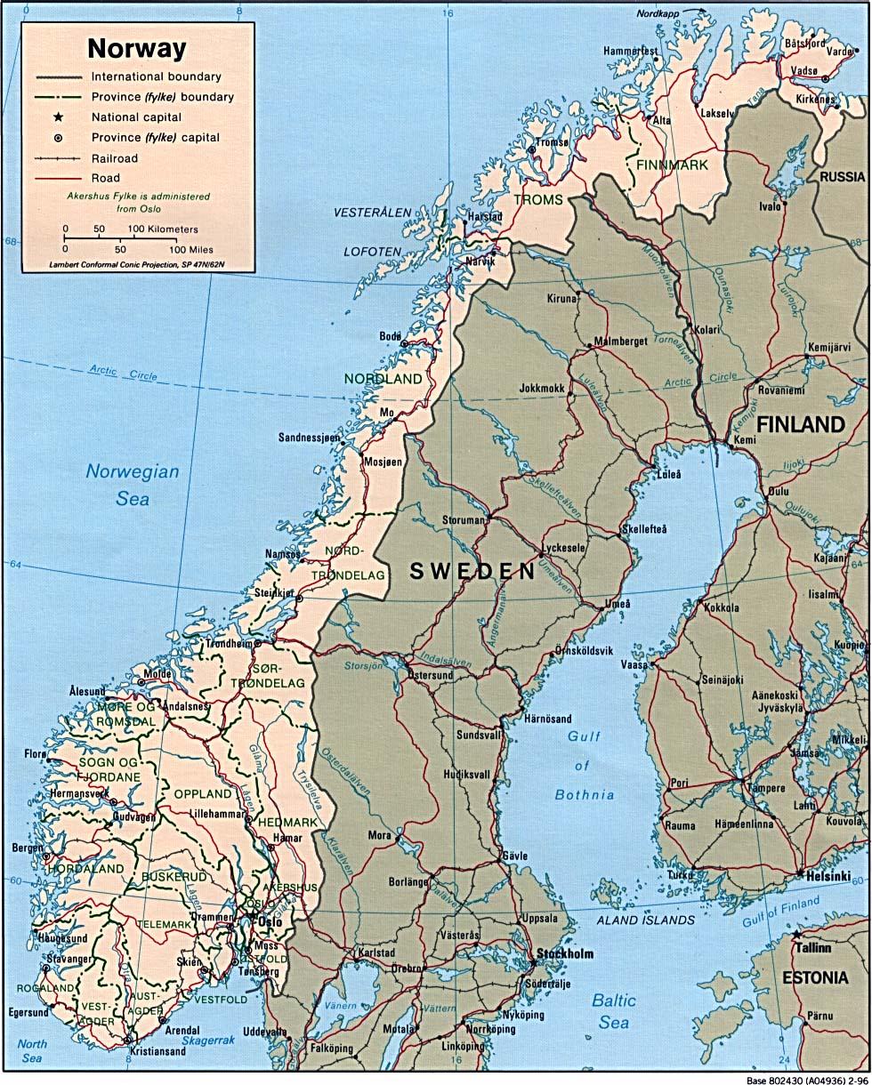 Kaart Landen Noord Europa Kaart Noorwegen En Oslo Vakantie