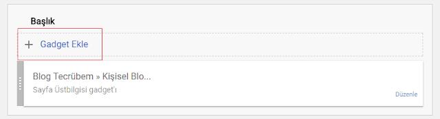 """""""Gadget Ekle"""" seçeneği ekleme"""