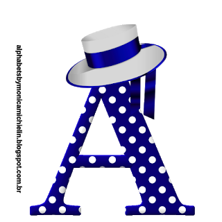 Alfabeto Azul con Lunares Blancos y Sombrero. Blue with Polka Dots Abc with a Hat.