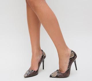 Pantofi la moda piele de sarpe cu toc inalt de ocazii ieftini maro