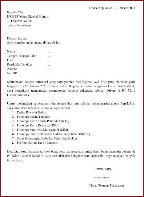Contoh Application Letter Untuk Driver (Fresh Graduate) Berdasarkan Informasi Dari Job Fair