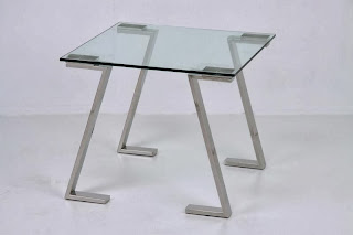 mesa lateral de sofa, mesa rincon acero, mesa auxiliar