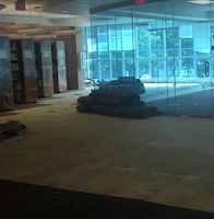 Carpeting being removed from the rear of the library.