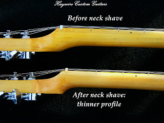 image results for before and after Guitar Neck Reshaping or a guitar neck shave @ Haywire Custom Shop: