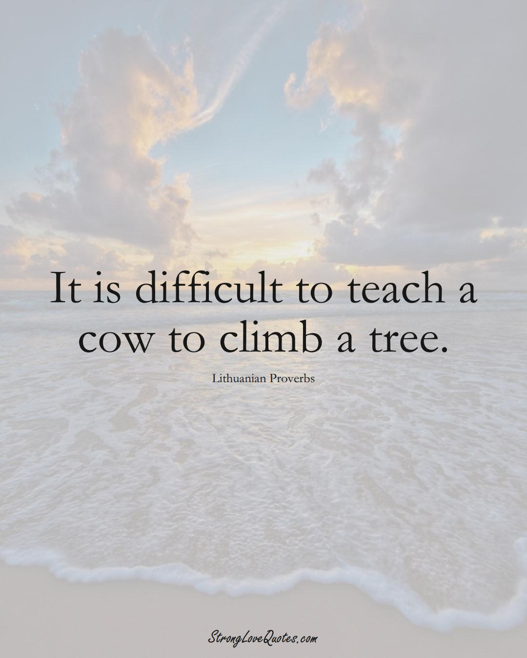 It is difficult to teach a cow to climb a tree. (Lithuanian Sayings);  #AsianSayings