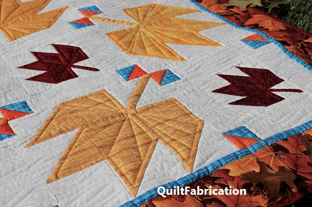 Fall Leaves wall hanging quilt closeup by QuiltFabrication