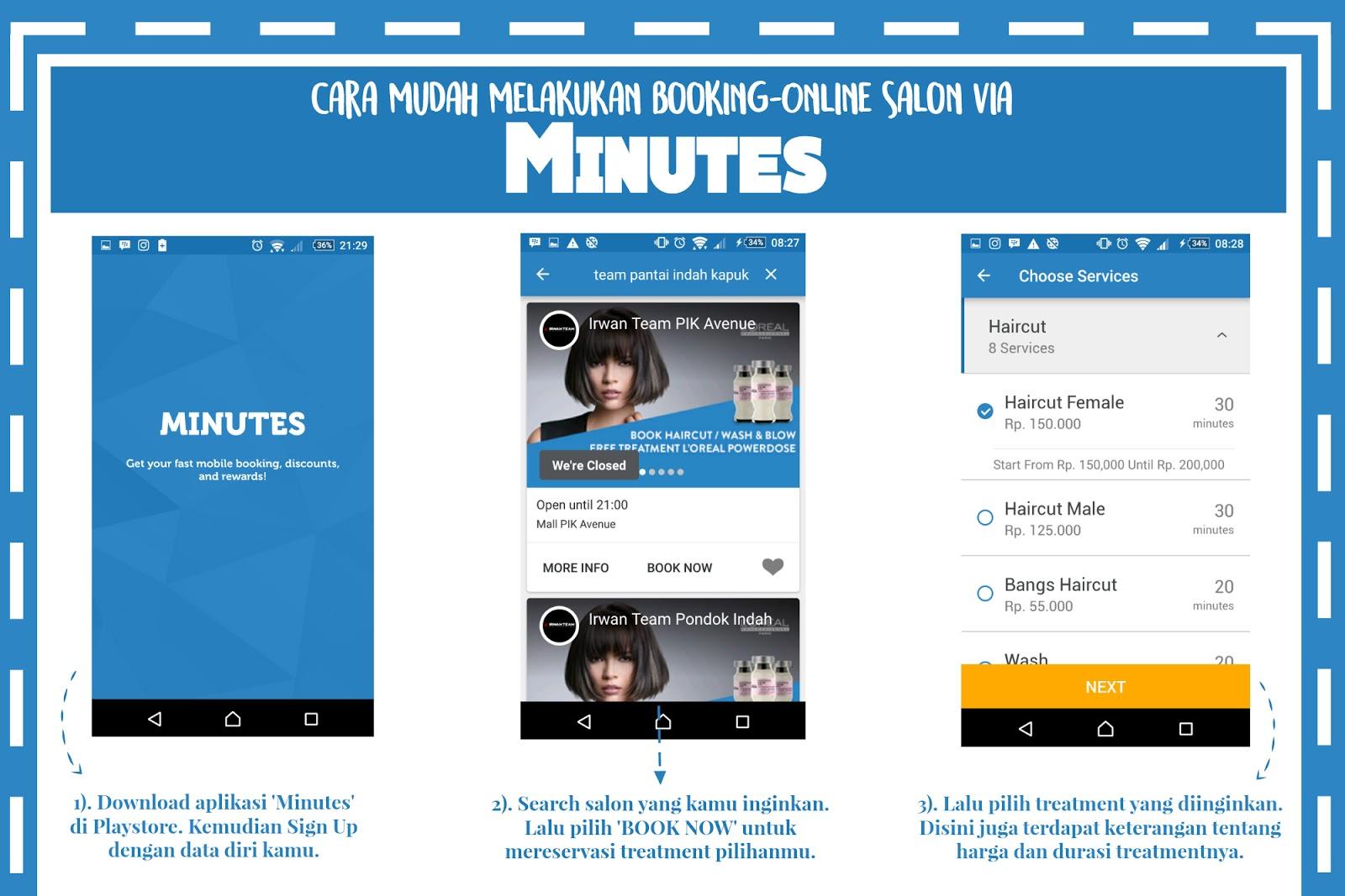 Cara Booking Online Irwan Team di Minutes App