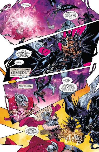 Thor fights Malekith but lost his last hammer which becomes the Black Hammer in War of the Realms Issue #6.