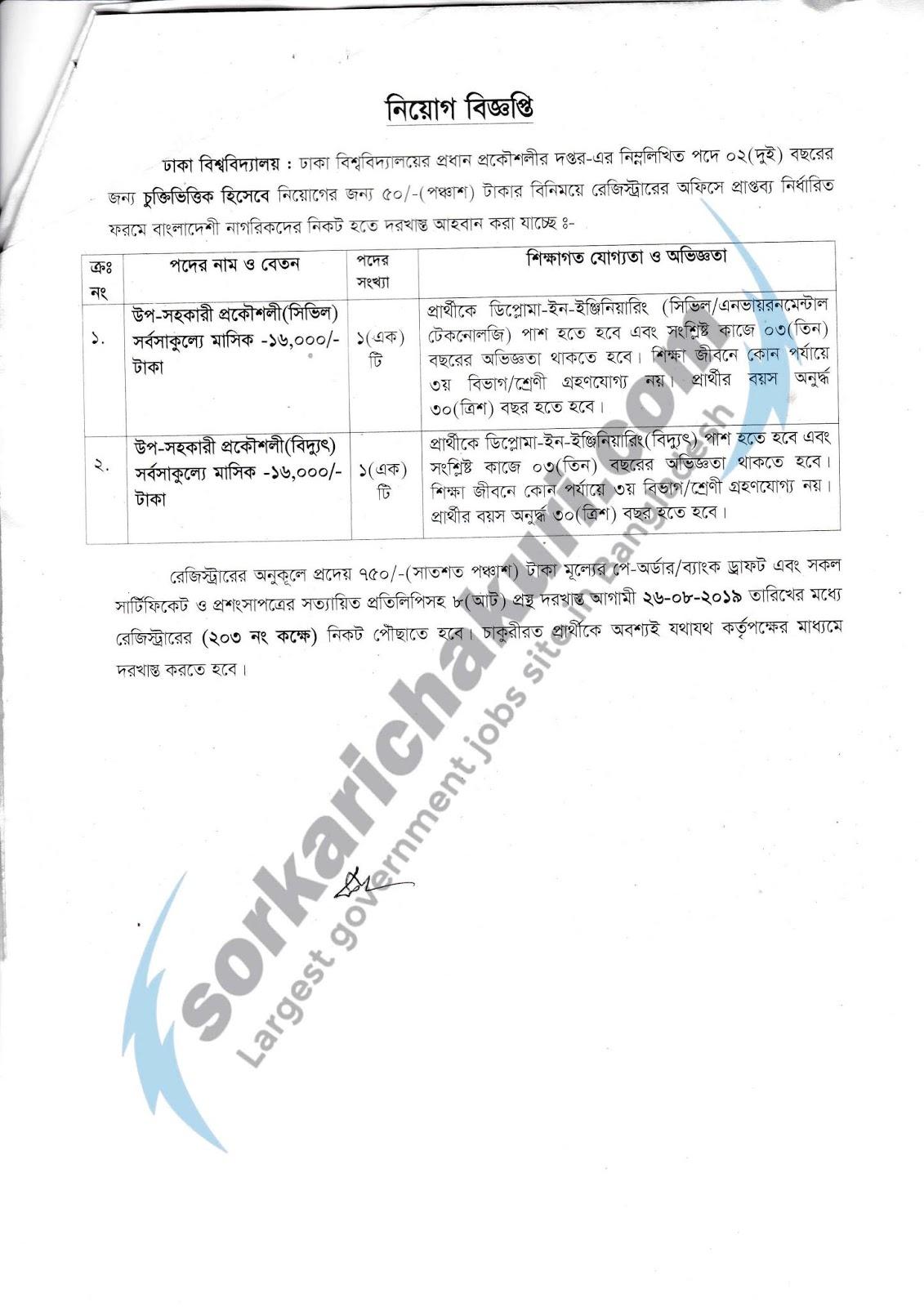 Dhaka University Jobs Circular 2019