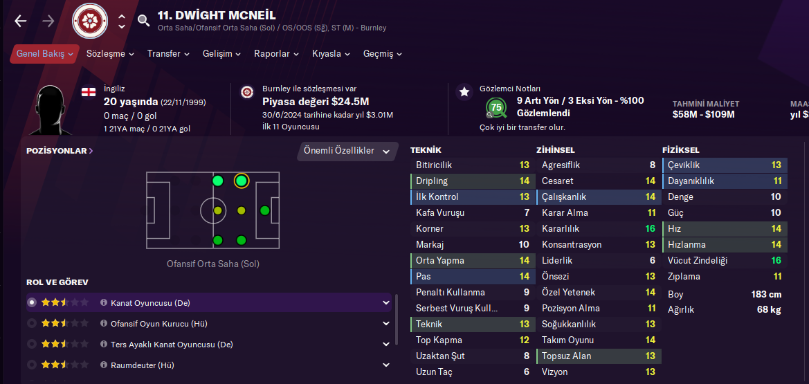 Dwight Mcneil fm21 profile