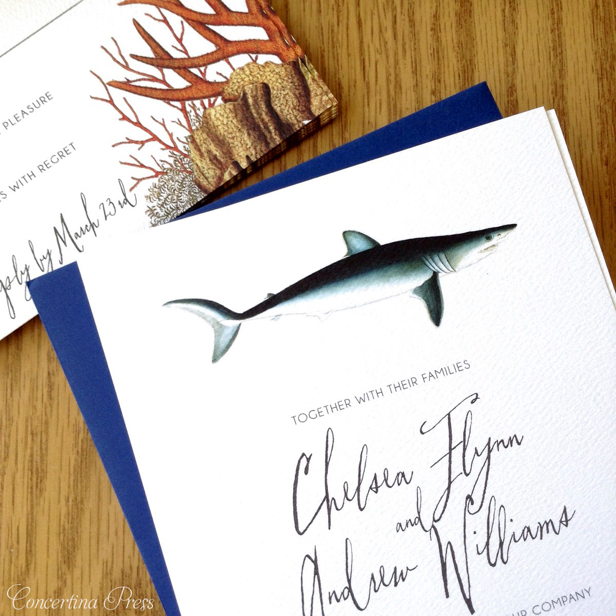 Shark Wedding Invitation Set with Red Coral RSVP cards - getting married at an aquarium