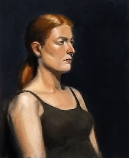 Portrait oil painting of a young woman with red hair.