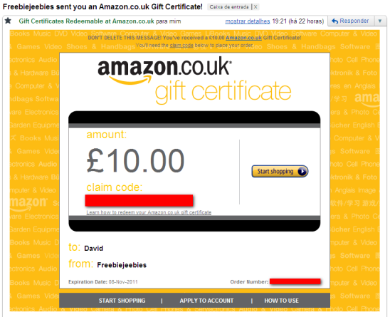 freebiejeebies gift certificate amazon voucher