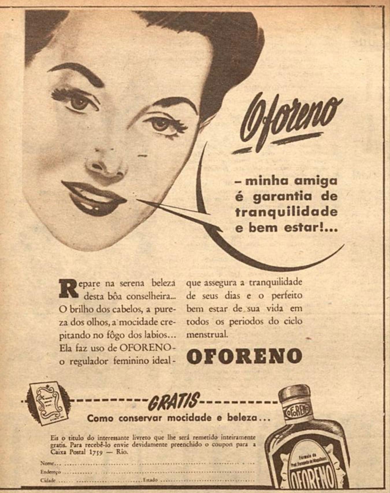 Propaganda antiga do regulador menstrual Oforeno veiculada em 1948