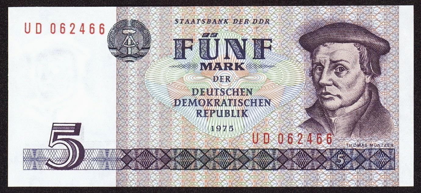 germany ddr 5 mark banknote 1975 thomas m ntzer world. Black Bedroom Furniture Sets. Home Design Ideas