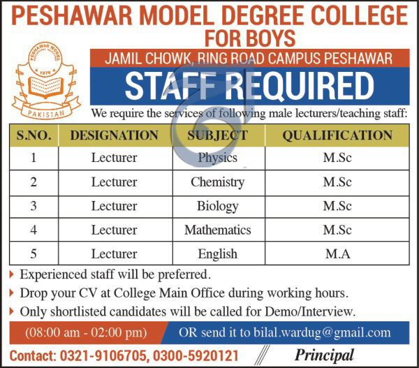 Jobs In Peshawar Model Degree College 26 Sep 2017