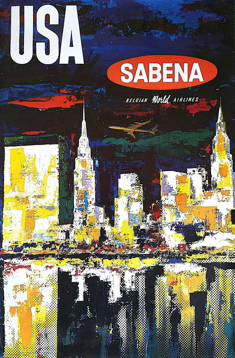 Sabina airline poster, a city skyline at night