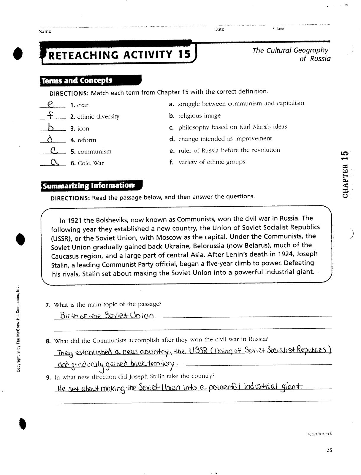 Russia Geography Worksheet