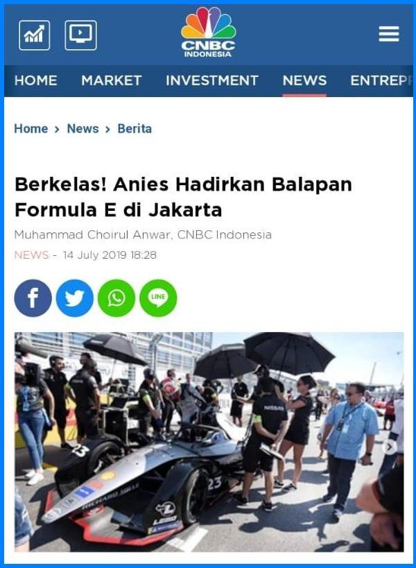 Kelas Dunia! Anies Berhasil Hadirkan Balapan Formula E di Jakarta, Ehh Pendukung Ahok Ngamuk