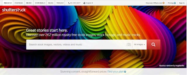 Tampilan halaman depan shutterstock.com