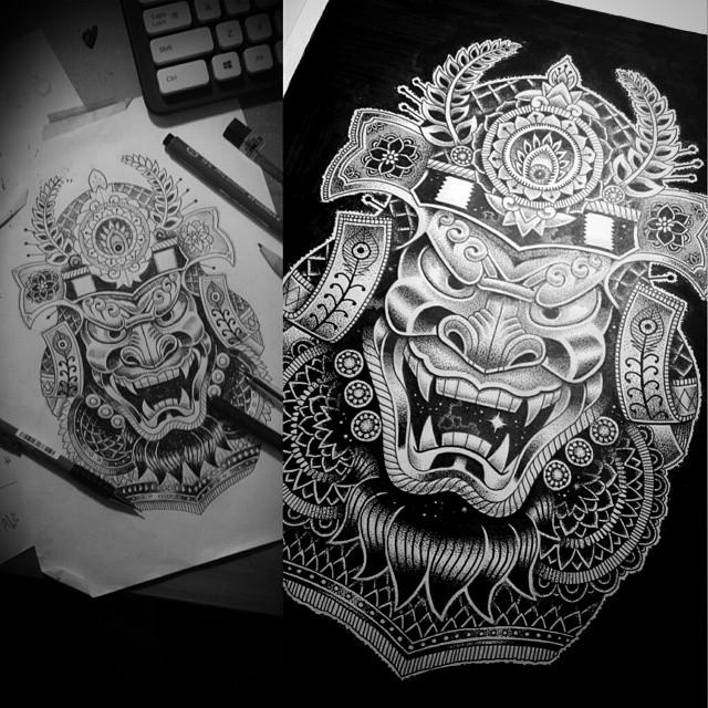 12-Cosmic-Samurai-Tony-Graystone-Neon-Mystic-Black-and-White-Drawings-www-designstack-co