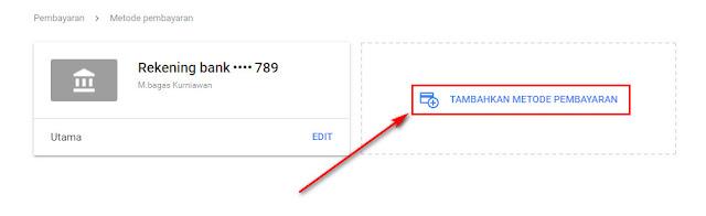 Tambahkan metode pembayaran google adsense