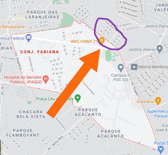 Localização real do Conjunto Fabiana