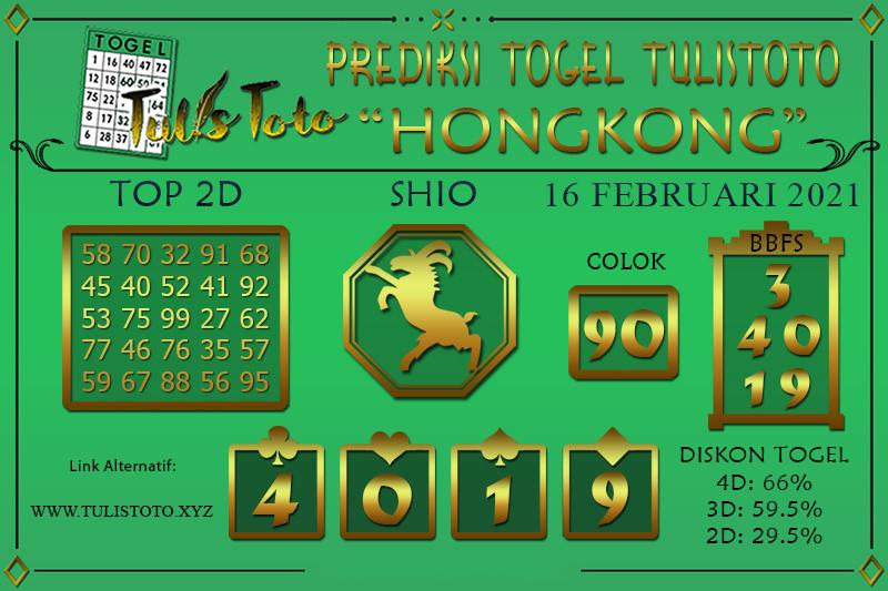 Prediksi Togel HONGKONG TULISTOTO 16 FEBRUARI 2021