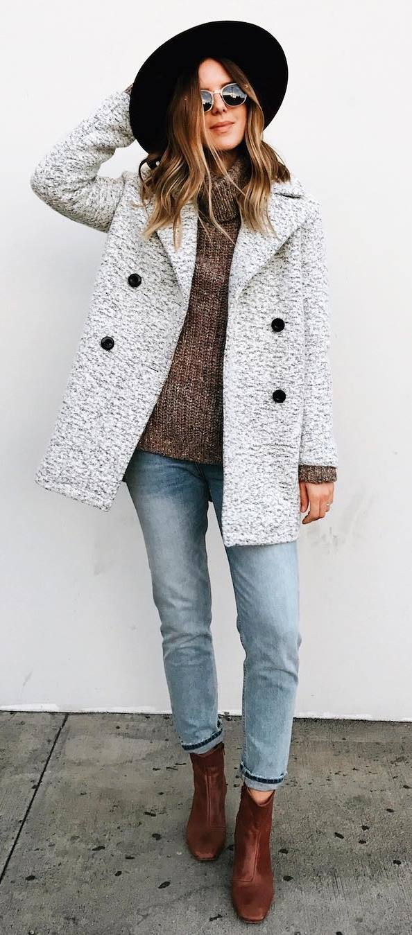 fall fashion trends: hat + coat + knit + jeans + boots