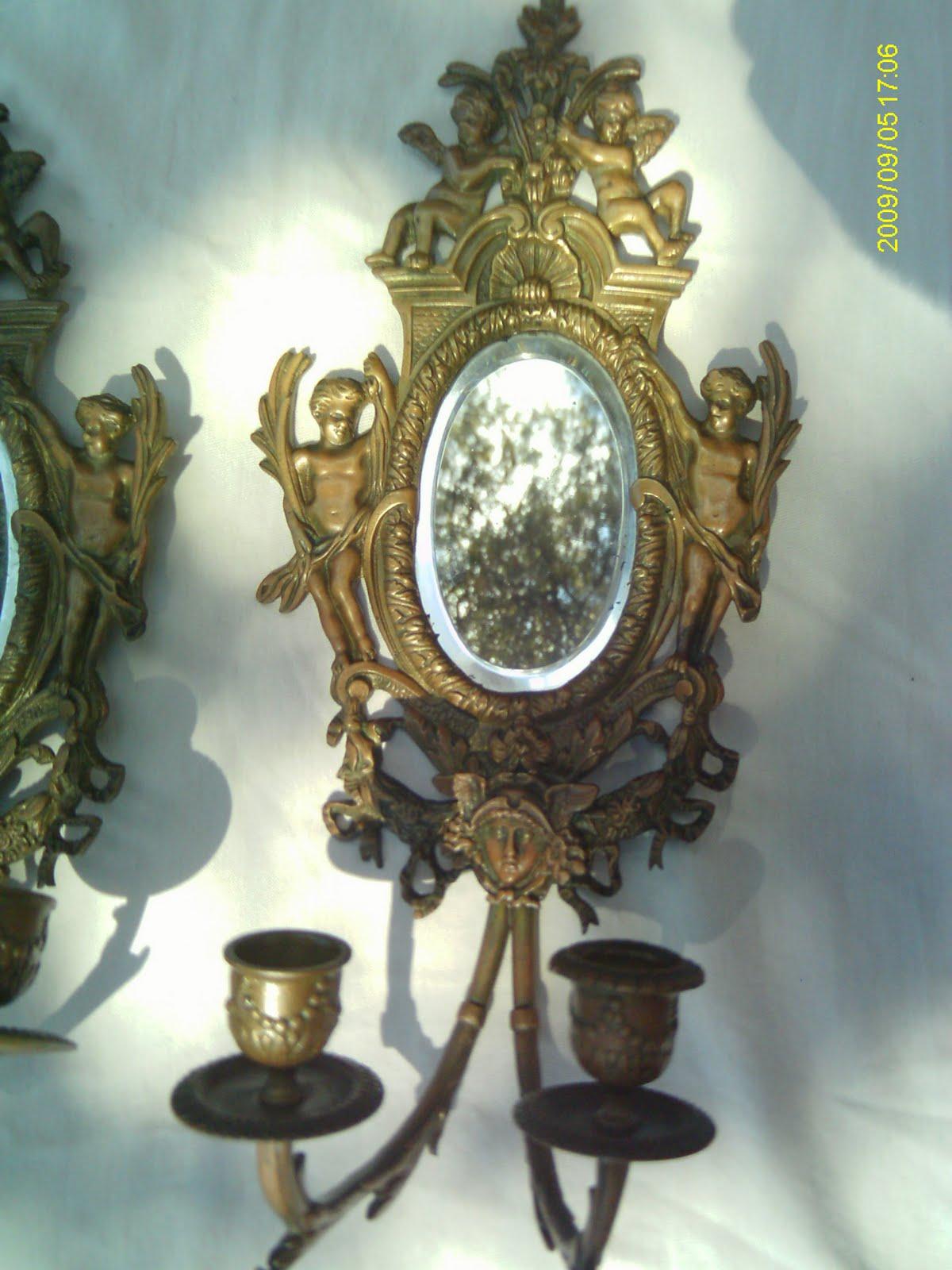 paire ancien miroir biseaut bronze bougeoir xixe. Black Bedroom Furniture Sets. Home Design Ideas