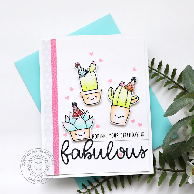 Sunny Studio Stamps: Looking Sharp Loopy Letter Dies Cactus Themed Birthday Card by Isha Gupta