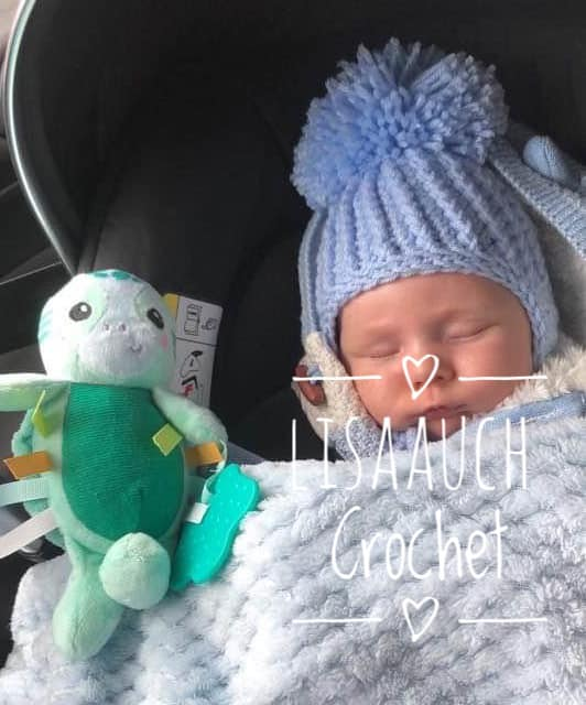 Free crochet baby hat pattern with earflaps and pompom