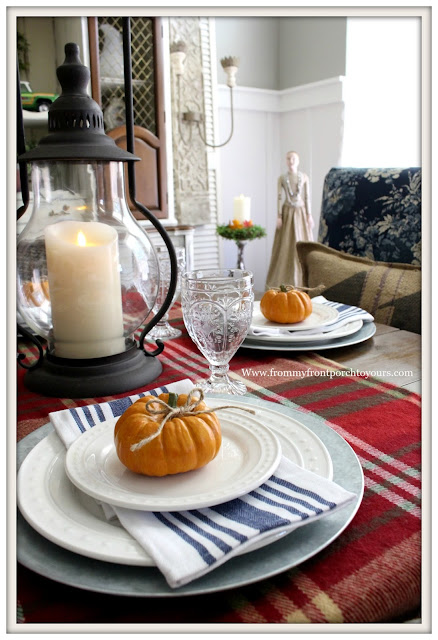 French Farmhouse Style Fall Dining Room-Fall Table Setting-Pumpkins-From My Front Porch To Yours