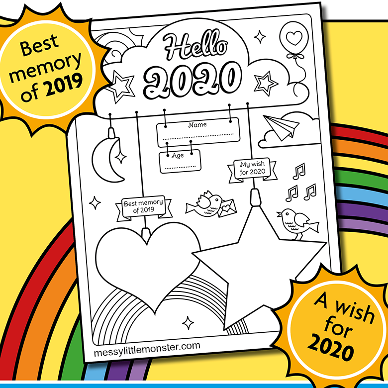 Happy New Year Colouring & Activity Printable