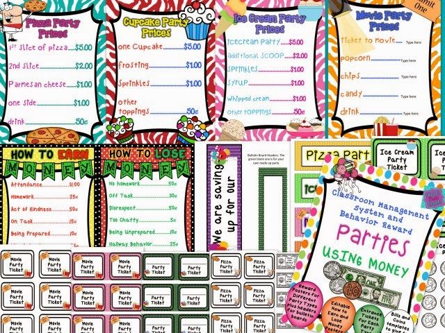"EDITABLE classroom economy manamagent system. Have students earn different types of class parties by collecting ""money,"" for different tasks. But they can also lose money!!"